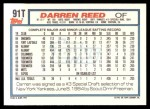 1992 Topps Traded #91 T Darren Reed  Back Thumbnail