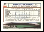 1992 Topps Traded #89 T Hipolito Pichardo  Back Thumbnail