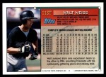 1994 Topps Traded #113 T Walt Weiss  Back Thumbnail