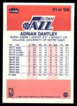 1986 Fleer #21  Adrian Dantley  Back Thumbnail