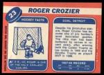 1968 Topps #23  Roger Crozier  Back Thumbnail