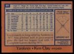 1978 Topps #89  Ken Clay  Back Thumbnail
