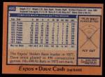 1978 Topps #495  Dave Cash  Back Thumbnail