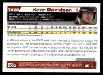 2004 Topps Traded #209 T  -  Kevin Davidson First Year Back Thumbnail