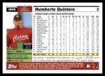2005 Topps Update #18  Humberto Quintero  Back Thumbnail