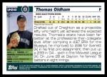 2005 Topps Update #240  Thomas Oldham   Back Thumbnail
