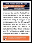 2005 Topps Update #211  Francisco Liriano  Back Thumbnail