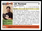 2005 Topps Update #286  J.B. Thurmond   Back Thumbnail