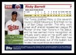 2005 Topps Update #259  Ricky Barrett   Back Thumbnail