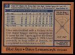 1978 Topps #33  Dave Lemanczyk  Back Thumbnail