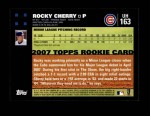 2007 Topps Update #163  Rocky Cherry  Back Thumbnail