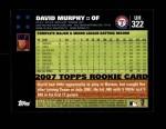 2007 Topps Update #322  David Murphy  Back Thumbnail