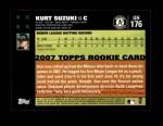 2007 Topps Update #176  Kurt Suzuki  Back Thumbnail