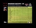 2007 Topps Update #316  Brandon Watson  Back Thumbnail
