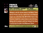 2007 Topps Update #224  Prince Fielder  Back Thumbnail