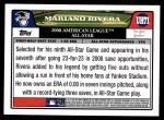 2008 Topps Updates #71   -  Mariano Rivera All-Star Back Thumbnail