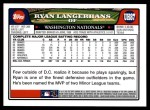 2008 Topps Updates #87  Ryan Langerhans  Back Thumbnail