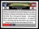 2008 Topps Updates #113   -  Justin Morneau All-Star Back Thumbnail