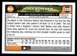 2008 Topps Updates #309  John Bowker  Back Thumbnail