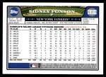 2008 Topps Updates #182  Sidney Ponson  Back Thumbnail