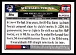 2008 Topps Updates #197   -  Michael Young All-Star Back Thumbnail
