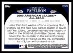 2009 Topps Update #243  Jonathan Papelbon  Back Thumbnail