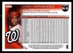 2010 Topps Update #29  Livan Hernandez  Back Thumbnail