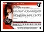 2010 Topps Update #3  Sam Demel  Back Thumbnail