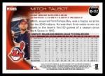 2010 Topps Update #212  Mitch Talbot  Back Thumbnail