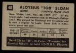 1952 Parkhurst #48  Tod Sloan  Back Thumbnail