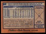 1978 Topps #161  Bob Boone  Back Thumbnail