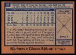 1978 Topps #31  Glenn Abbott  Back Thumbnail