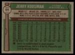 1976 Topps #64  Jerry Koosman  Back Thumbnail