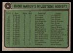 1974 Topps #6   -  Hank Aaron Special 1970-73 Back Thumbnail