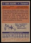 1972 Topps #77  Don Adams   Back Thumbnail