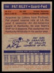 1972 Topps #144  Pat Riley   Back Thumbnail