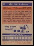 1972 Topps #82  Neal Walk   Back Thumbnail