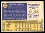 1970 Topps #340  Tony Conigliaro  Back Thumbnail