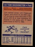 1972 Topps #240  Tom Washington   Back Thumbnail