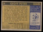 1971 Topps #34  Geoff Petrie   Back Thumbnail