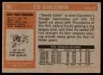 1972 Topps #165  Ed Giacomin  Back Thumbnail