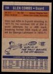 1972 Topps #194  Glen Combs   Back Thumbnail