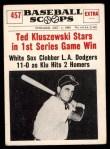 1961 Nu-Card Scoops #457   -   Ted Kluszewski  Ted Kluszewski Stars in 1st Game Win Front Thumbnail