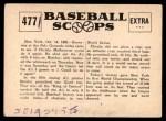 1961 Nu-Card Scoops #477   -   Christy Mathewson  Mathewson Pitches 3 WS Shutouts Back Thumbnail