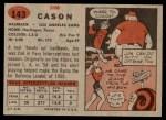 1957 Topps #143  Jim Cason  Back Thumbnail