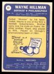 1969 Topps #91  Wayne Hillman  Back Thumbnail