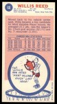 1969 Topps #60  Willis Reed  Back Thumbnail