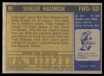 1971 Topps #89  Shaler Halimon   Back Thumbnail