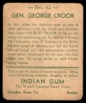1933 Goudey Indian Gum #62  Gen. George Crook   Back Thumbnail