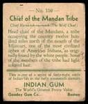 1933 Goudey Indian Gum #150   Mandan Tribe  Back Thumbnail